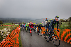 Peloton with Team Movistar leading at C&ocirc;te de La Redoute with 48 km to go, the 102th edition of Li&egrave;ge-Bastogne-Li&egrave;ge race running 253 km from Li&egrave;ge to Li&egrave;ge, Belgium, 24 April 2016.<br /> Photo by Pim Nijland / PelotonPhotos.com<br /> <br /> All photos usage must carry mandatory copyright credit (&copy; Peloton Photos | Pim Nijland)