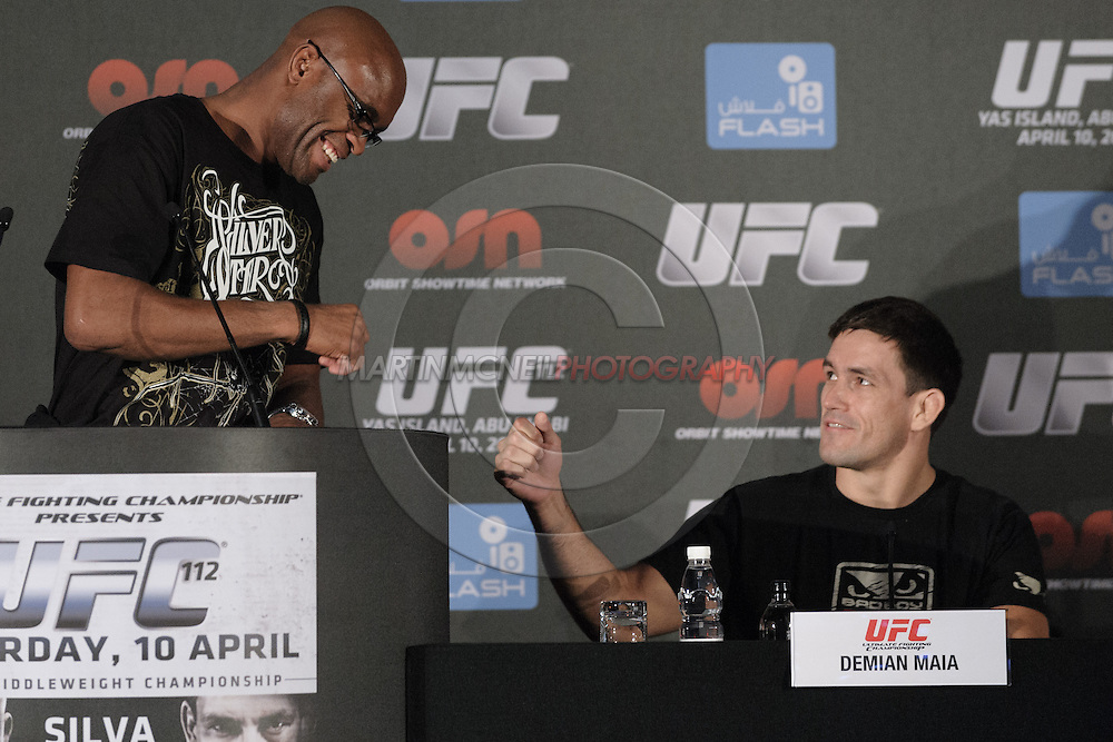 """ABU DHABI, UNITED ARAB EMIRATES, APRIL 7, 2010: Anderson Silva and Demian Maia are pictured during the pre-fight press conference for """"UFC 112: Invincible"""" at the Rotana Hotel in Abu Dhabi on April 7, 2010. (Martin McNeil)"""