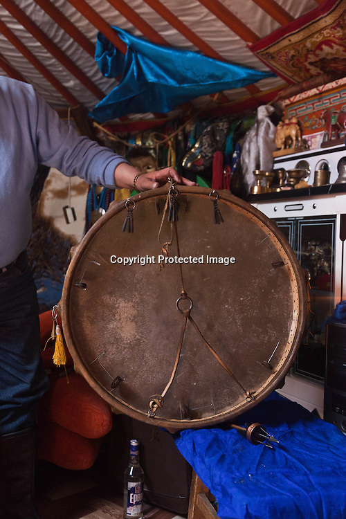 Mongolia. Ulaanbaatar. shamanic drums and shamanic tools  during a shamanic ceremony in a yurt  . Ulaan baatar