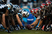 January 3, 2016: Carolina Panthers vs Tampa Bay Buccaneers. Panthers defense lines up against the Buccaneers offense.