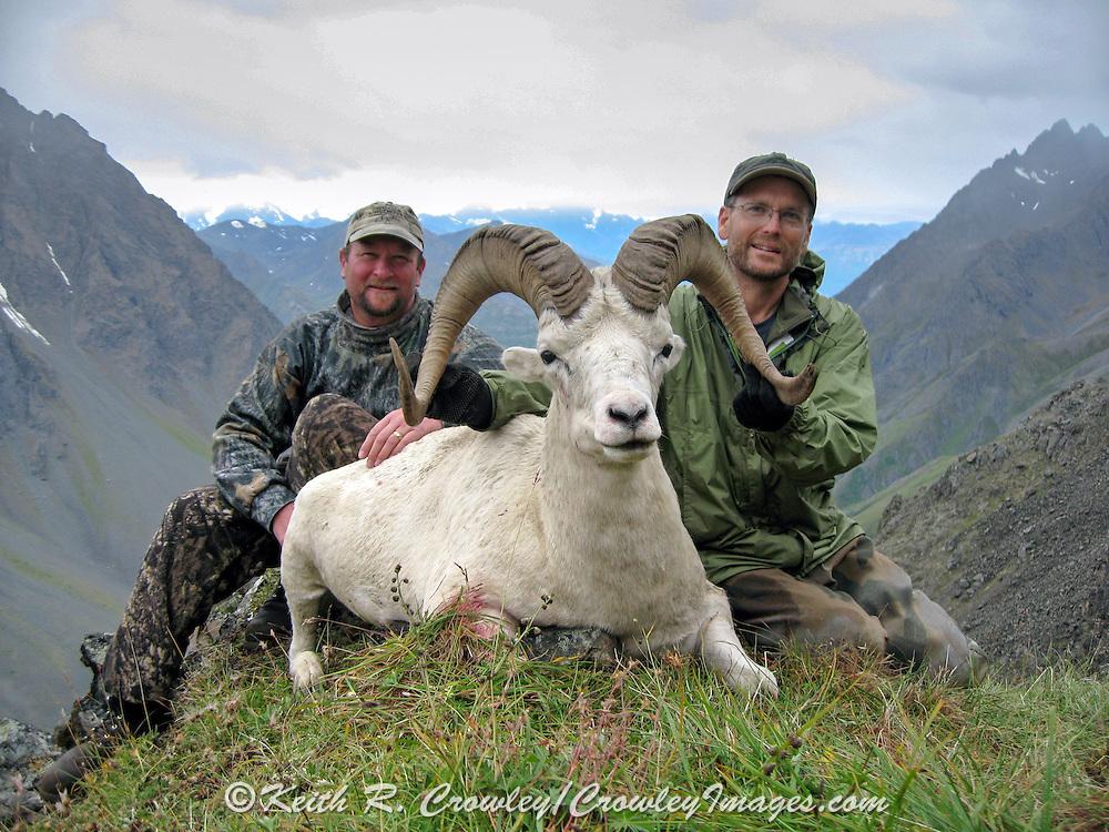 Successful Dall Sheep Hunters with Ram in a Beautiful Alaskan Valley