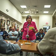 WALDORF, MD - AUG20: Mildred Kriemelmeyer, representing the local Sierra Club chapter, makes public comments against the proposed gas-fired power plant to the Maryland Public Service Commission, August 20, 2015, at the Charles County Public Library in Waldorf, Maryland. The plant would become the fifth plant in a 13-mile radius in southern Maryland and drew a standing room only crowd to comment on the record. (Photo by Evelyn Hockstein/For The Washington Post)