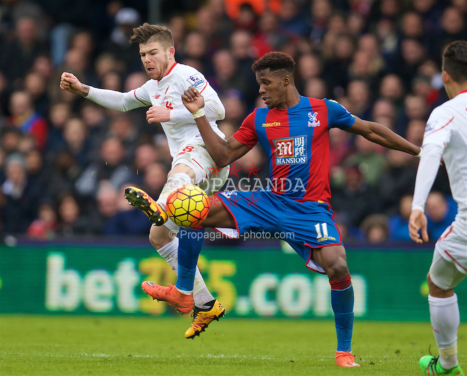 LONDON, ENGLAND - Sunday, March 6, 2016: Liverpool's Alberto Moreno in action against Crystal Palace's Wilfried Zaha during the Premier League match at Selhurst Park. (Pic by David Rawcliffe/Propaganda)