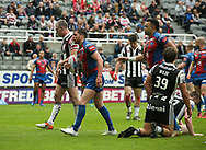 Scott Grix (L) of Wakefield Trinity  celerbrates scoring the 1st try of the match awith team mate Mason Caton-Brown gainst Widnes Vikings during the Betfred Super League match at the Dacia Magic Weekend at St. James's Park, Newcastle<br /> Picture by Stephen Gaunt/Focus Images Ltd +447904 833202<br /> 20/05/2017