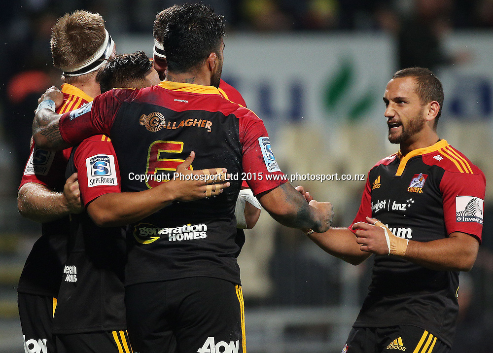 Aaron Cruden of the Chiefs reacts with team members during the Investec Super Rugby game between the Crusaders v Chiefs at AMI Stadium i Christchurch. 17 April 2015 Photo: Joseph Johnson/www.photosport.co.nz