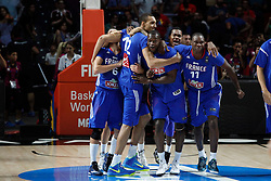 13.09.2014, City Arena, Madrid, ESP, FIBA WM, Frankreich und Litauen, Entscheidungsspiel zwischen Platz 3 und 4, im Bild France´s players celebrate their victory // during FIBA Basketball World Cup Spain 2014 playoff match place 3 and 4 between France and Lithuania at the City Arena in Madrid, Spain on 2014/09/13. EXPA Pictures © 2014, PhotoCredit: EXPA/ Alterphotos/ Victor Blanco<br /> <br /> *****ATTENTION - OUT of ESP, SUI*****