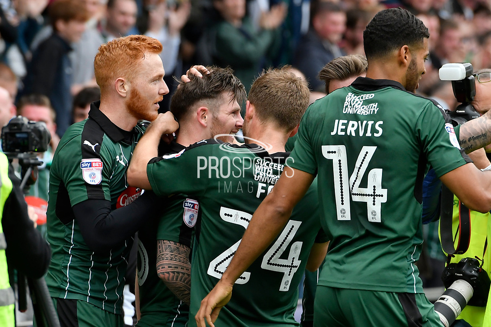 Matthew Kennedy (16) of Plymouth Argyle celebrates scoring a goal to give a 1-0 lead to the home team during the EFL Sky Bet League 2 match between Plymouth Argyle and Newport County at Home Park, Plymouth, England on 17 April 2017. Photo by Graham Hunt.