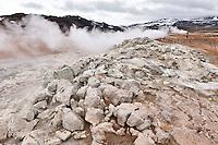 Hverarönd by Námaskarð, north of Lake Mývatn, North Iceland. Geothermal area with Mud Pools and vents. Sulphur and other colorful minerals contribute in making a colorful scenery. Hverarönd við Námaskarð.