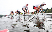 The crew that will represent Canada in the Men's quad at the Rio Olympic games (left to right) Julien Bahain, Rob Gibson, Will Dean and Pascal Lussier push off the dock prior to a morning training session on Elk Lake in Victoria, British Columbia on June 22, 2016.