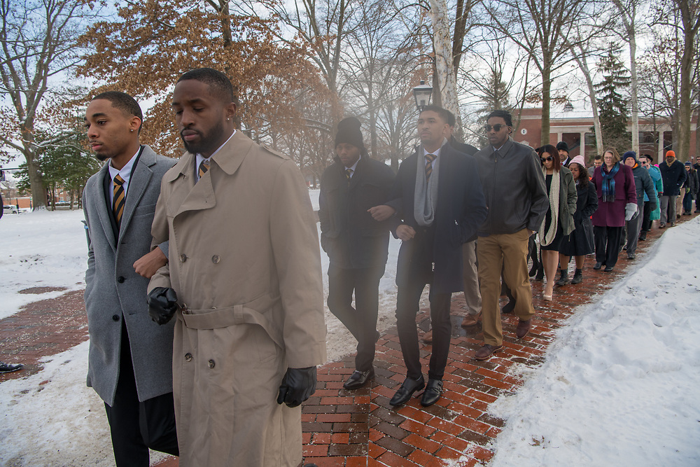 Members of the OHIO and Athens communities participate in the MLK Jr. Silent March. Photo by Ben Siegel