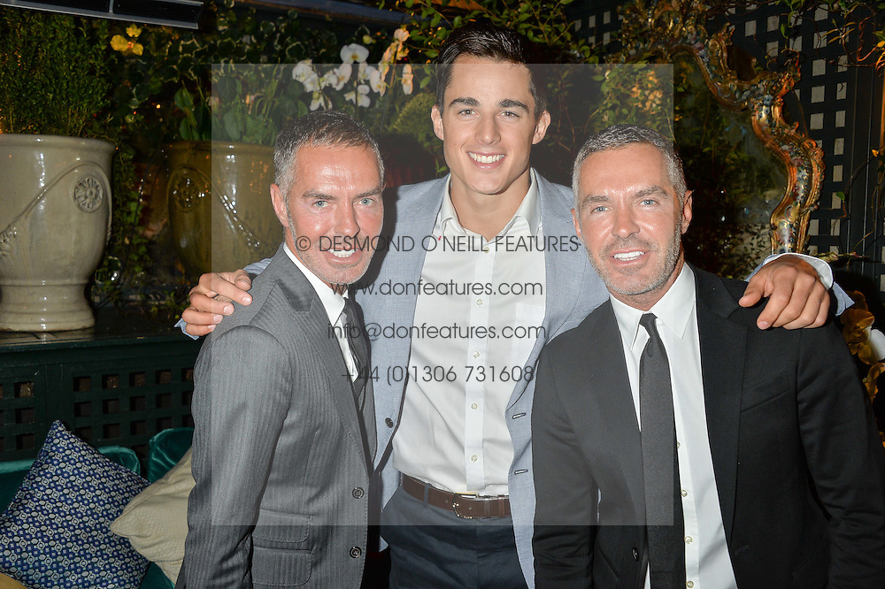 Left to right, DEAN CATEN, PIETRO BOSELLI and DAN CATEN at an intimate performance by All Saints held at Annabel's, 44 Berkeley Square, London on 4th May 2016.
