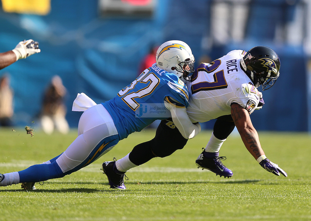 Baltimore Ravens running back Ray Rice (27) in action against the San Diego Chargers during an NFL game on Sunday, November 25, 2012 in San Diego, CA.  (Photo by Jed Jacobsohn)