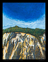 """Under Blue Dome, Yellowstone Canyon"" - Acrylic on canvas, 12x16 inches"