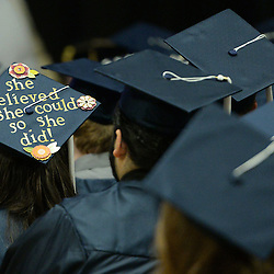 Staff photos by Tom Kelly IV<br /> The Spring Commencement at Penn State University's Brandywine Campus was held Saturday morning, May 9, 2015 in the Commons / Athletic Center at the school in Middletown Township.  Here, a graduates cap reads, &quot;she believed she could so she did&quot;.