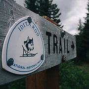 The official Iditarod Trail sign near Seward, Alaska.