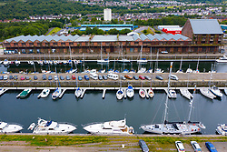 Aerial view of James Watt Dock Marina in Greenock on River Clyde, Inverclyde, Scotland, UK