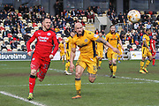 David Pipe of Newport County and Rhys Murphy of Crawley Town during the EFL Sky Bet League 2 match between Newport County and Crawley Town at Rodney Parade, Newport, Wales on 1 April 2017. Photo by Andrew Lewis.