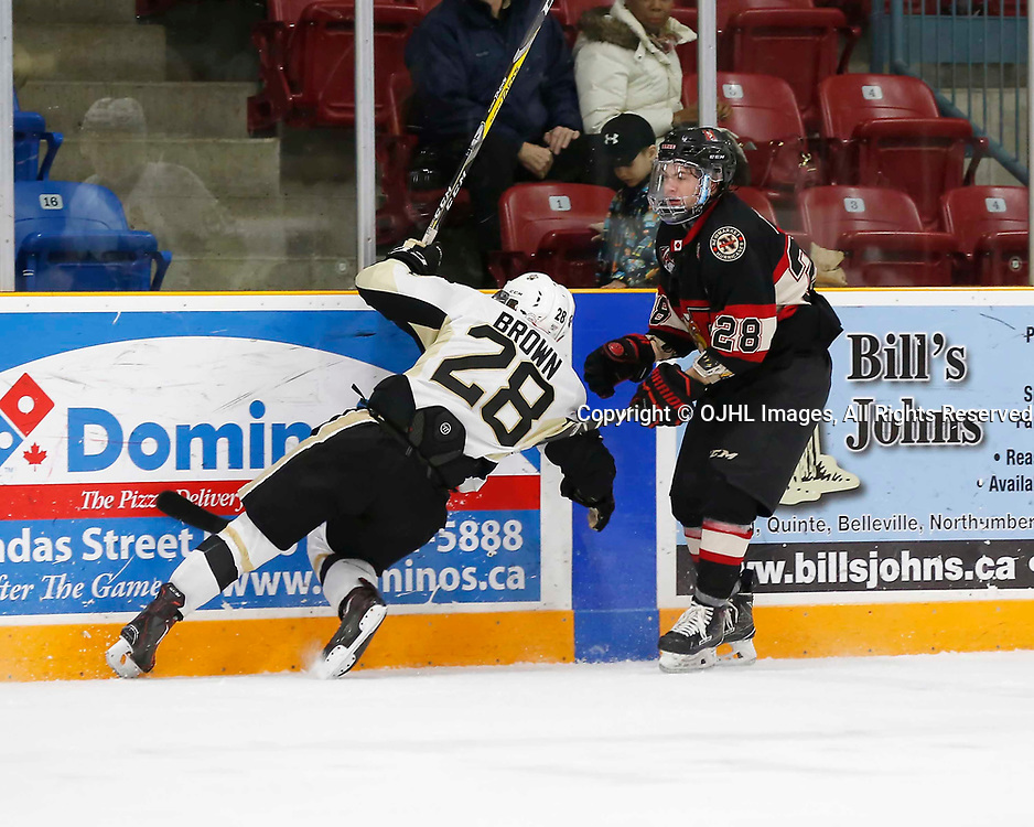 TRENTON, ON - MAR 7,  2017: Ontario Junior Hockey League, playoff game between the Trenton Golden Hawks and the Newmarket Hurricanes., Lucas Brown #28 of the Trenton Golden Hawks takes the hit from Todd Winder #28 of the Newmarket Hurricanes<br /> (Photo by Amy Deroche / OJHL Images)