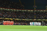 Football - 2018 / 2019 International Friendly - Wales vs. Spain<br /> <br /> Wales & Spain line up for minute's silence, at the Principality Stadium (Millennium Stadium).<br /> <br /> COLORSPORT/WINSTON BYNORTH