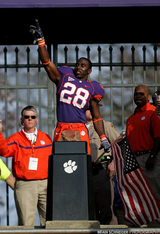 Nov 21, 2009; Clemson, SC, USA; Clemson Tigers running back C.J. Spiller (28) reacts before running down The Hill for the last time on Senior Day before the game against the Virginia Cavaliers at Memorial Stadium. Mandatory Credit: Brian Schneider-www.ebrianschneider.com