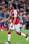 July 15 2017: Arsenal player Mohamed Elneny (35) celebrates his goal at the International soccer match between English Premier League giants Arsenal and A-League team Western Sydney Wanderers at ANZ Stadium in Sydney.