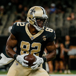 Aug 17, 2018; New Orleans, LA, USA; New Orleans Saints tight end Benjamin Watson (82) before a preseason game against the Arizona Cardinals at the Mercedes-Benz Superdome. Mandatory Credit: Derick E. Hingle-USA TODAY Sports