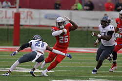 NORMAL, IL - September 08: Mark Williams, James Robinson and Josh Price during 107th Mid-America Classic college football game between the ISU (Illinois State University) Redbirds and the Eastern Illinois Panthers on September 08 2018 at Hancock Stadium in Normal, IL. (Photo by Alan Look)
