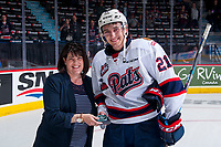 REGINA, SK - MAY 23: Nick Henry #21 of the Regina Pats accepts the second star of the game against the Swift Current Broncos at the Brandt Centre on May 23, 2018 in Regina, Canada. (Photo by Marissa Baecker/CHL Images)