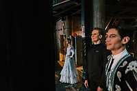 "PALERMO, ITALY - 18 FEBRUARY 2018: (R-L) Dancer Riccardo Riccio (in the role of Espada), primary dancer Leonid Sarafanov (in the role of Basilio) and dancer Simona Filippone watch the dress rehearsal of ""Don Quixote"" from the backstage of the Teatro Massimo in Palermo, Italy, on February 18th 2018.<br /> <br /> The Teatro Massimo Vittorio Emanuele is an opera house and opera company located  in Palermo, Sicily. It was dedicated to King Victor Emanuel II. It is the biggest in Italy, and one of the largest of Europe (the third after the Opéra National de Paris and the K. K. Hof-Opernhaus in Vienna), renowned for its perfect acoustics. It was inaugurated in 1897."