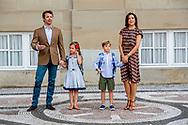 15-8-2017 COPENHAGEN DENMARK - Prince Vincent and Princess Josephine begins at the 0th grade at Traneg&aring;rd School in Hellerup on Tuesday, August 15th. In this context there is an opportunity for photography before leaving Frederik VIII's Palace, Amalienborg, the royal couple of Princess Mary and Prince Frederick will come in front of the house together with their two youngest children COPYRIGHT ROBIN UTRECHT<br /> <br /> 15-8-2017 KOPENHAGEN Denemarken - Prins Vincent en Prinses Josephine begint bij 0. klasse op Traneg&aring;rd School in Hellerup dinsdag 15 augustus. In dit kader is er gelegenheid voor fotografie voor het vertrek van Frederik VIII's Palace, Amalienborg, zal het koninklijk paar Prinses Mary and Prins Frederick in de voorkant van het huis komen samen met hun twee jongste kinderen  COPYRIGHT ROBIN UTRECHT