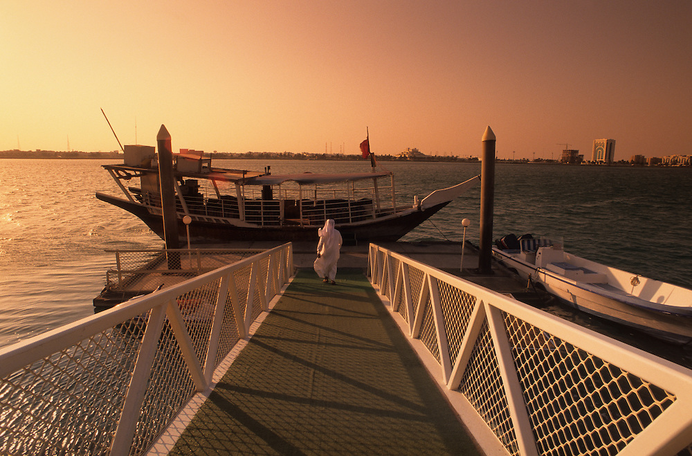 Qatar, Middle East, Asia, harbour at sunset.