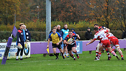 Nick Freeman of Bristol United has the goal line in sight to score a try - Mandatory by-line: Paul Knight/JMP - 18/11/2017 - RUGBY - Clifton RFC - Bristol, England - Bristol United v Gloucester United - Aviva A League