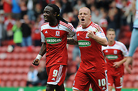 Football - Championship -  Middlesbrough vs. Coventry City<br /> Marvin Emnes (Middlesbrough) celebrates his goal with Nicky Bailey (Middlesbrough) at The Riverside.