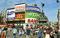 Picadilly Circus, Statue of Eros, London, England, UK, tourist destination, favourite, meeting place, landmark, tourists, travel, 199808005..Copyright Image from Victor Patterson, 54 Dorchester Park, Belfast, UK, BT9 6RJ..Tel: +44 28 9066 1296.Mob: +44 7802 353836.Voicemail +44 20 8816 7153.Skype: victorpattersonbelfast.Email: victorpatterson@mac.com.Email: victorpatterson@ireland.com (back-up)..IMPORTANT: If you wish to use this image or any other of my images please go to www.victorpatterson.com and click on the Terms & Conditions. Then contact me by email or phone with the reference number(s) of the image(s) concerned.