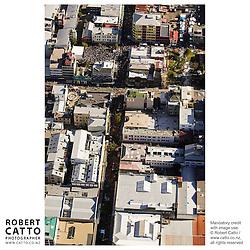 An aerial view of the Go Wellington Cuba St Carnival at Cuba St, Wellington, New Zealand.