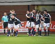 Dundee celebrate after Hearts&rsquo; Callum Paterson's own goal had gifted them an injury time winner to complate a Christmas miracle comeback from 2-0 down - Dundee v Hearts in the Ladbrokes Scottish Premiership at Dens Park, Dundee - Photo: David Young, <br /> <br />  - &copy; David Young - www.davidyoungphoto.co.uk - email: davidyoungphoto@gmail.com