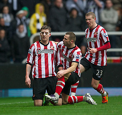 NEWCASTLE, ENGLAND - Sunday, March 4, 2012: Sunderland's Nicklas Bendtner celebrates scoring the first goal against Newcastle United during the Premiership match at St. James' Park. (Pic by David Rawcliffe/Propaganda)