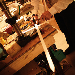 Mark Gietzen, an American pro-life activist, in his home's basement, shows us how he easily makes crosses in Wichita, KS. 2009, June 19th. Photo: Antoine Doyen