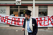 © Benjamin Girette / IP3 PRESS ;  le 3 Mars 2012 - Une trentaine de militants (Democratie reelle) se rassemblent pour occuper une banque dans Paris afin de protester contre le systeme bancaire actuel, l'austerite, la situation de la Grece, a Paris.