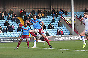 Scunthorpe United player Rory McArdle (23) during the EFL Sky Bet League 2 match between Scunthorpe United and Colchester United at Glanford Park, Scunthorpe, England on 14 December 2019.