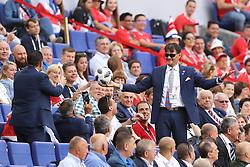 SAMARA, June 17, 2018  A fan picks up a ball fallen on the spectator grandstand during a group E match between Costa Rica and Serbia at the 2018 FIFA World Cup in Samara, Russia, June 17, 2018. (Credit Image: © Fei Maohua/Xinhua via ZUMA Wire)