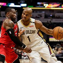 Oct 11, 2018; New Orleans, LA, USA; New Orleans Pelicans guard Jarrett Jack (1) drives in against Toronto Raptors guard Kay Felder (20) during the second half at the Smoothie King Center. Mandatory Credit: Derick E. Hingle-USA TODAY Sports