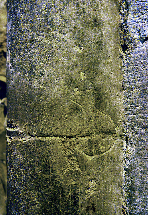Masons stone alignment mark inside Clonfert Cathedral, County Galway, Ireland. Founded by Saint Brendan.