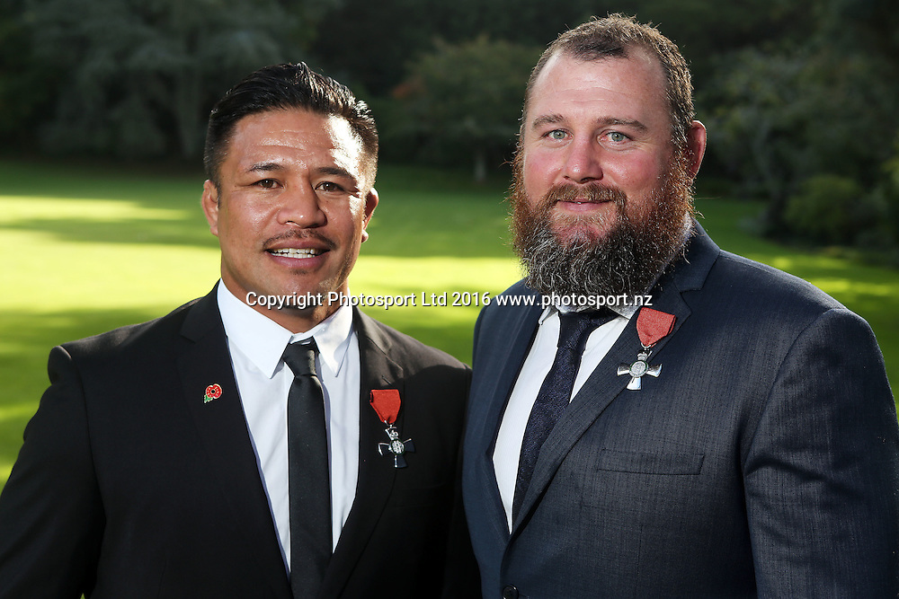 Keven Mealamu (L) and Tony Woodcock receive the insignia of a member of the New Zealand order of merit for services to rugby, Government House Investitures, Auckland, New Zealand. 26 April 2016. Copyright Image: William Booth / www.photosport.nz