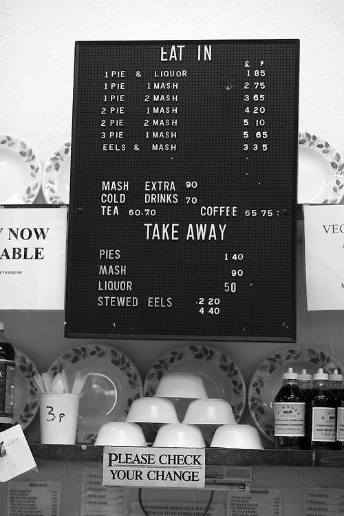 London. Menu board in Manzies pie and mash cafe.
