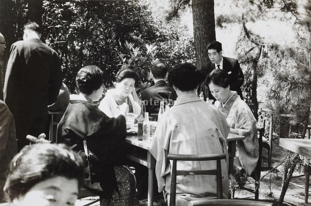outdoors garden restaurant Japan 1960s