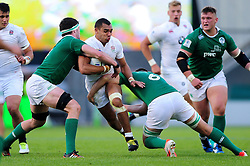 Joe Marchant of England U20 takes on the Ireland U20 defence - Mandatory byline: Patrick Khachfe/JMP - 07966 386802 - 25/06/2016 - RUGBY UNION - AJ Bell Stadium - Manchester, England - England U20 v Ireland U20 - World Rugby U20 Championship Final 2016.