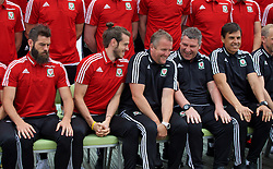 DINARD, FRANCE - Tuesday, June 7, 2016: Wales' Gareth Bale and assistant manager Osian Roberts joke with goalkeeping coach Martyn Margetson as players prepare for a team group photograph at the Novotel Thalasso Dinard ahead of the start of the UEFA Euro 2016 tournament. (Pic by Paul Greenwood/Propaganda)