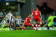 Goal Grimsby Town forward Ahkeem Rose scores a goal 1-0 during the EFL Sky Bet League 2 match between Grimsby Town FC and Crawley Town at Blundell Park, Grimsby, United Kingdom on 17 November 2018.