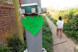 Stay home support heart sign in residential area of Reading during Coronavirus lockdown, UK April 2020